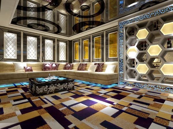 负一层洽谈区 典雅的墙纸符号、蜂巢酒架的原生态美、绚丽的地毯、镂空的压花,在LED灯的照射下,华丽变身。