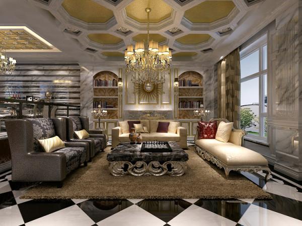 一楼客厅 大厅展现其庄重大气的不凡气势,高深的天花,用金箔、金色马赛克拼花装饰,在灯光的映射下金碧辉煌,加上施华洛世奇水晶吊灯的绚丽衬托,一派皇家贵族的奢华。