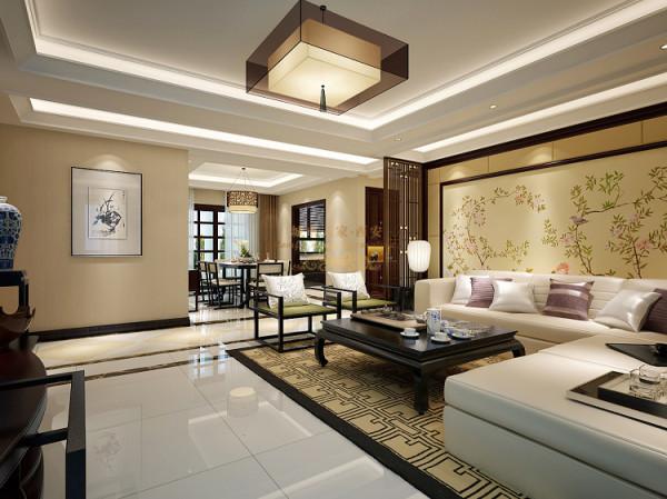 格局方正、典雅、沉稳是进入客厅的第一印象,浅色沙发与地毯营造出宁静的氛围。客厅以白色与灰色的皮质沙发,深色框架,内嵌暖色软包,配置中式壁画,黑色的木案几,整体展现出高雅恬淡的气息。