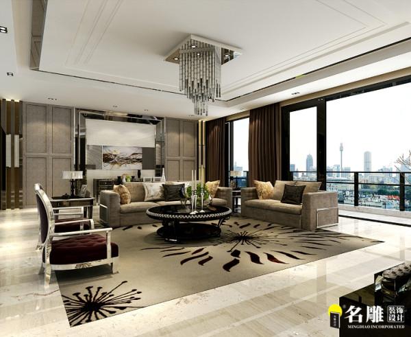 名雕设计——客厅:挑高的客廳以華麗旋轉梯闊大視野格局迎接來客,對應著如雨般傾洩而下的水晶燈,客廳擺設搭配古典樣式同時又帶有現代簡約線條的家具飾品。