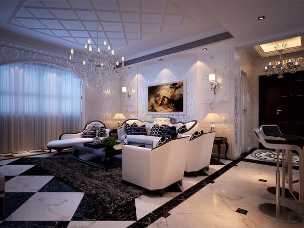 客厅的设计以简单的线条代替复杂的花纹使空间显得更有层次感。