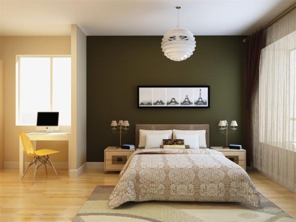 卧室简约而不简单,通过配饰的搭配营造出一种温馨的气氛。