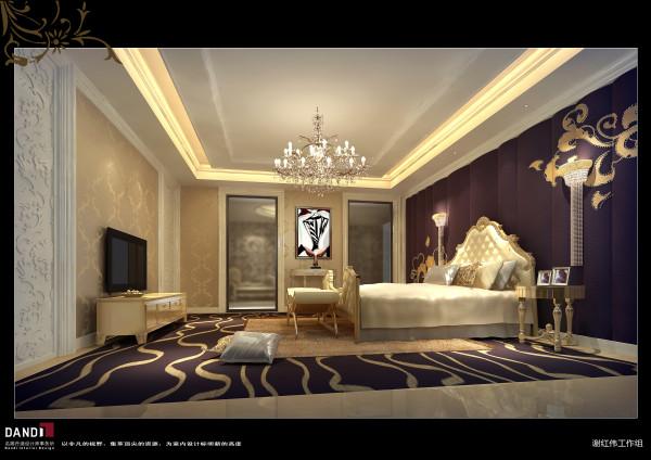 名雕丹迪设计——卧室:卧房的祥云墙与川字型地板交相印衬,在舒适温馨的空间里体验一把行云流水般的浪漫