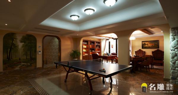 名雕装饰设计作品——地下室休闲区:作为家庭成员休息交流的中心。