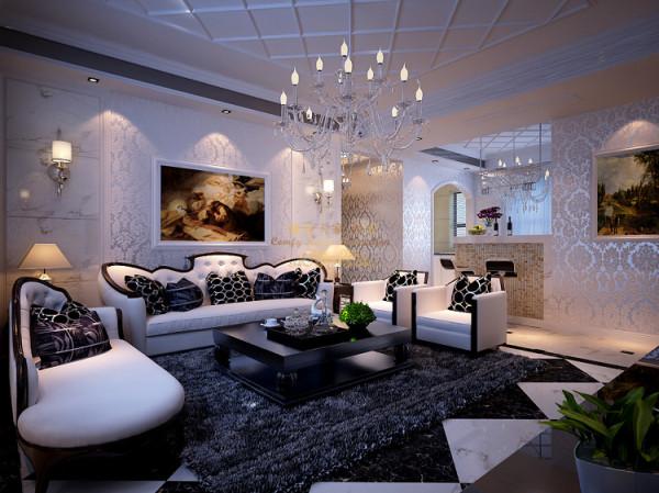 地面瓷砖采用黑白对比的方式铺贴,墙面配以浅绿色的壁纸,乳白色的门和实木踢脚线,使得空间明快清新的颜色既保留了欧式的典雅与豪华。