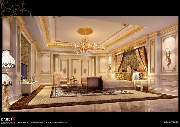 名雕丹迪设计——主卧:卧房的祥云墙与川字型地板交相印衬,在舒适温馨的空间里体验一把行云流水般的浪漫