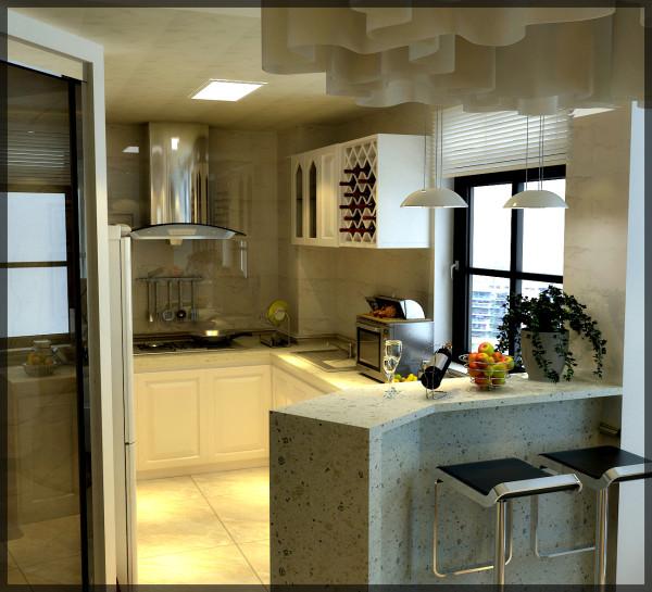 设计巧妙利用45度放大术,厨房位置设置吧台,造成视觉上的扩充的同时,又加强突破了房屋本身的基础结构