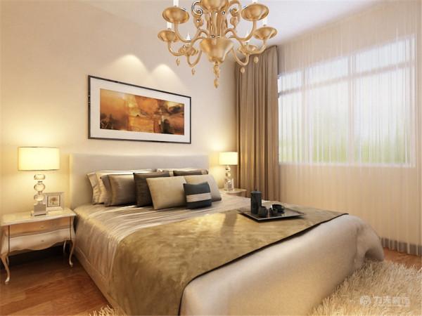 卧室还是沿用了客厅的暖色调,深色的地板配上白色毛绒地毯