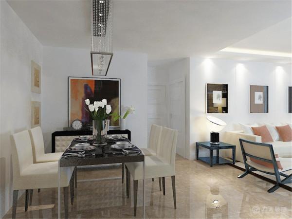 在软装搭配上以皮质的沙发和现代的餐桌椅作为重点