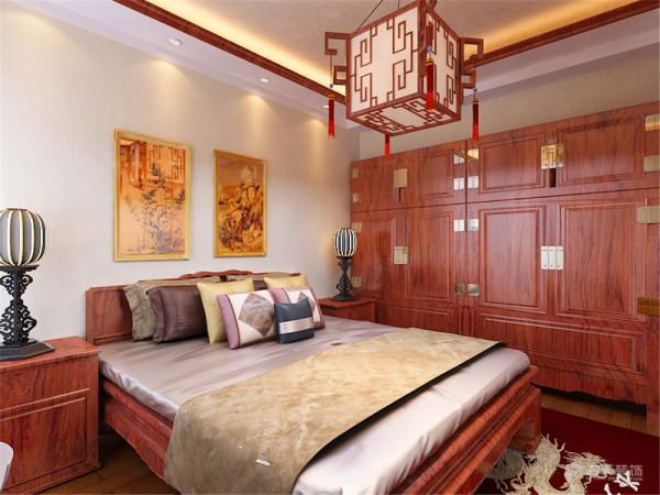 卧室空间中式而优雅,私密性强,是理想的居住空间。