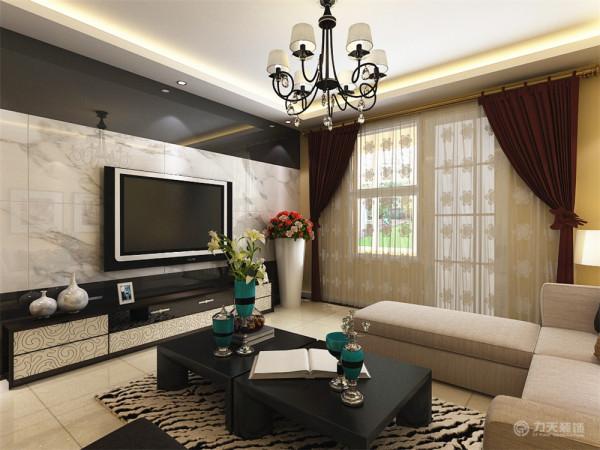 在细小部分的点缀,青色的花瓶,大型团花的亮色靠垫,让整个深色调的家具有了画龙点睛的感觉,加上黑白纹的地毯,让整个空间现代感十足