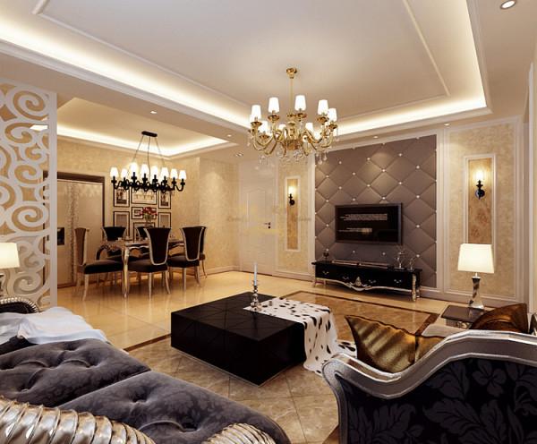 客厅的开间比较宽,电视墙北边就是主卧室,所以用了软包材质,给人一种厚重感,而且隔音效果也好一些。