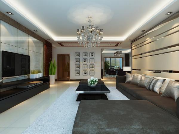 沙发背景墙用了石膏板造型和镜子用低成本作出了时尚大气的感觉。