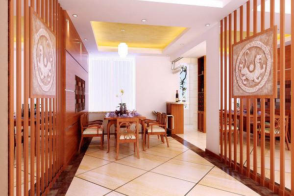 米黄色的通体斜铺砖和复古砖圈边处理拉大了空间。用木质的屏风进行空间的划分