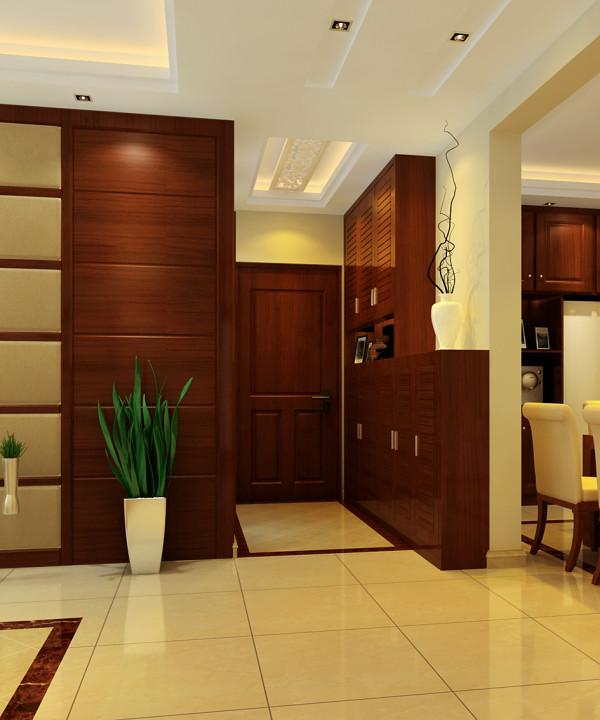 玄关吊顶设计的很精致,鞋柜中式古典韵味十足。让人一进门就能感受到中国文化的深厚底蕴跟主人的生活品味。