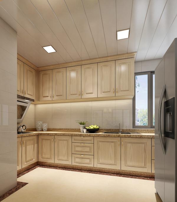 浅木色实木厨柜