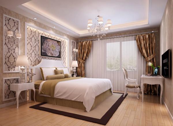 暖色墙纸呼应整个房间的灯光,暖调子一下子就出来了。卧室睡觉的地方,让人舒服的入睡才是最重要的。配合床头灯的余光泡上一杯牛奶,更容易入睡。