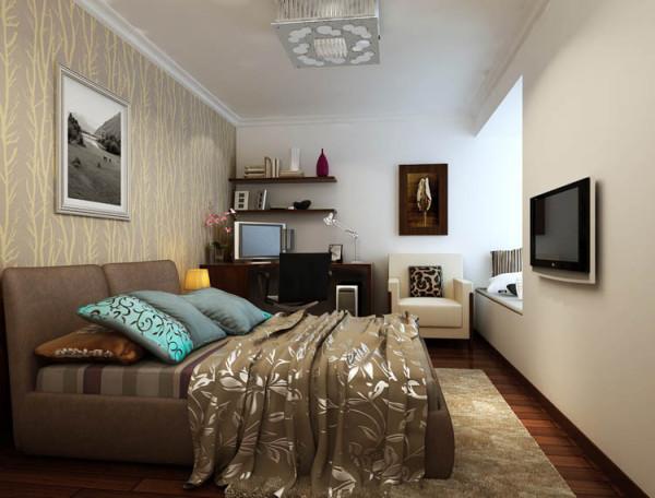 客卧室则运用中性色彩的现代装饰,利用壁纸、乳胶漆、现代家具,灯饰,布艺、装饰画等,造成中年人喜欢的装饰风格!