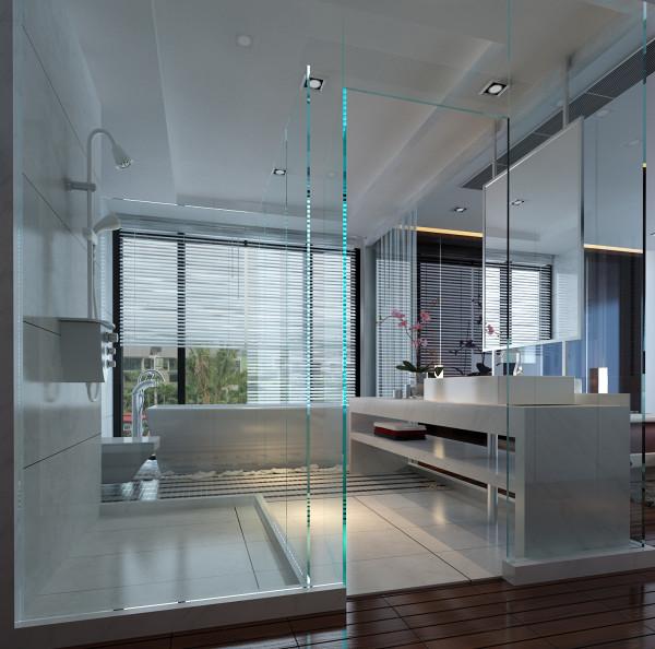 现代的年青人套房洗手间