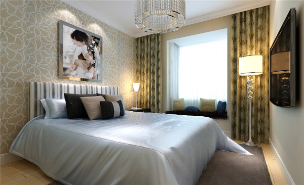 温馨的米色调小花壁纸搭配绵绸床品使空间充满家的温馨。 亮点:外飘窗阳台的设计很好的利用了空间,与此同时和卧室的整体设计融为一体。