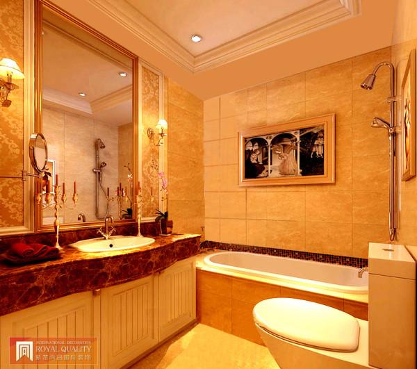卫生间:与客厅、玄关相互应金碧辉煌的色彩与墙壁具有艺术气息的画饰