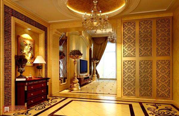 玄关:不需要要过多的装饰,以灯柜上的图案就是整体玄关的亮点