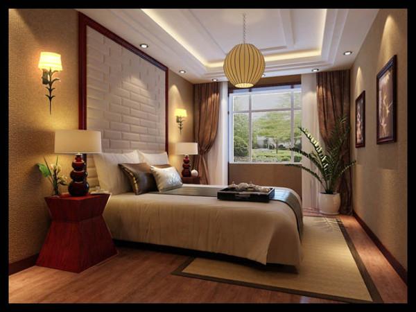为了营造次卧田园风,绿色植被自然是不可或缺的元素,白色砖墙效果图和木色地板床帘也是主色调。