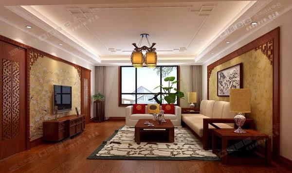 采用实木饰面、中式雕花、壁纸来装饰电视以及沙发背景墙,更明确突出了中式的韵味