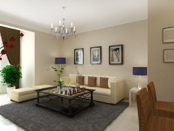 客厅的色彩设计采用浅色为基调,