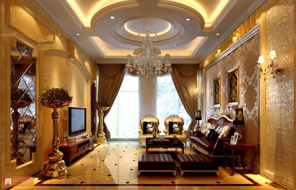 客厅:以金色的壁纸与欧式沙发,搭配圆型吊顶的灯饰,让整体通透高贵