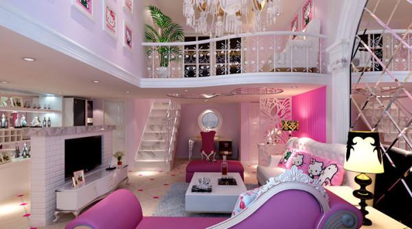 设计中运用了简欧风格的元素,还有kitty可爱的造型吊顶与欧式元素的结合,将古典的皇家装饰元素融入了设计中,使整个空间高贵不失典雅。  即甜美又有一种小奢华的感觉。