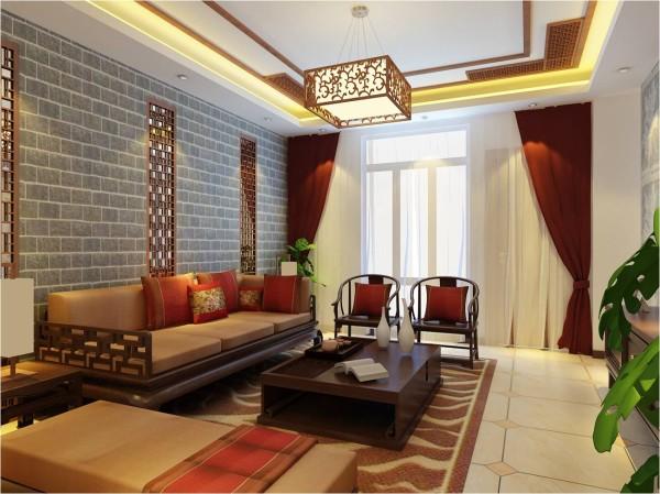 客厅:现在的中式风格更多地利用了后现代手法,把传统的结构形式通过重新设计组合以另一种民族特色的标志符号出现。厅里摆一套明清式的红木家具,墙上的中国山水画等,