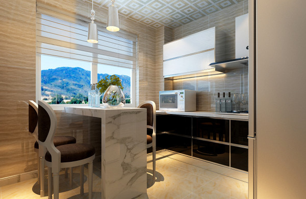 设计理念:带有餐厅整体厨房,解决餐厅空间功能缺少的问题,采用L型橱柜,在转角处增加一个吧台式台面,既能起到餐桌的作用,也能充当操作台和吧台,在5平米的厨房内,合理利用空间,增加其功能性。