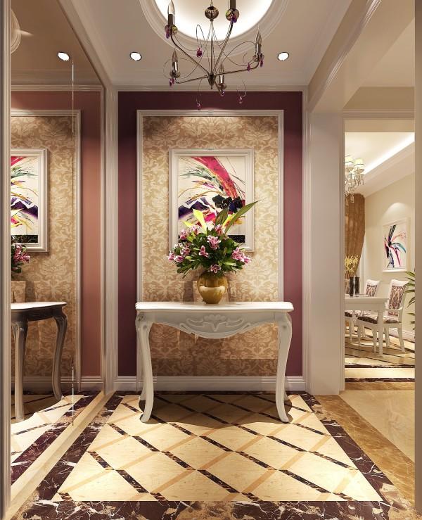 进门玄关及景的布置,是居室的一大亮点。壁纸的花纹选择,客厅的软包及家具的搭配,体现了欧式风格的独有美感和韵味。