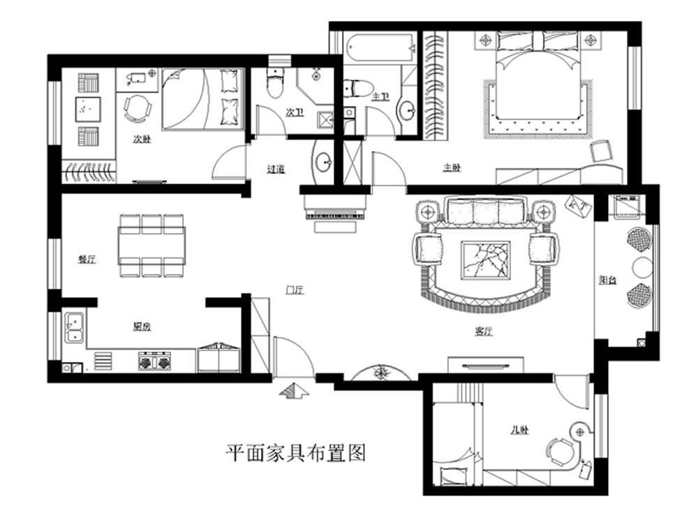 欧式 三居 白领 收纳 旧房改造 80后 小资 户型图图片来自实创装饰完美家装在欧式奢华造就宏福苑150平的分享