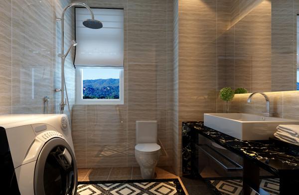 设计理念:4平米的卫生间,整体墙面采用亮光的瓷砖,提高的室内的光感度,黑白相见的浴室柜,凸显现代风格,大面积的浴室镜在视觉上增强空间感。