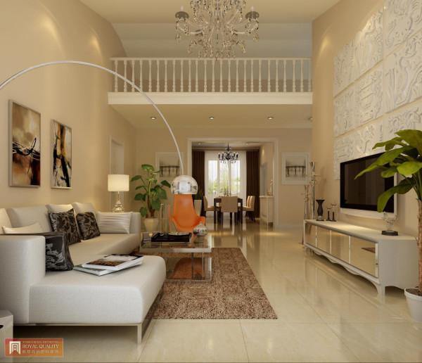 客厅:电视墙以石膏雕刻笼罩整个的客厅,即简单又干净,以独特橙色坐椅做为点睛色,让空间更色彩相互延伸,更加完美