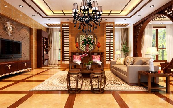 """一层客厅 开放通透的客厅 设计理念:开放式空间的设计,有种饱满的视觉通透感。 亮点:中式风格家具的摆放极其讲究""""对称""""的效果,沙发两侧的中式台灯,左侧的中式椅,都是双方对称,有种和谐统一之感。"""