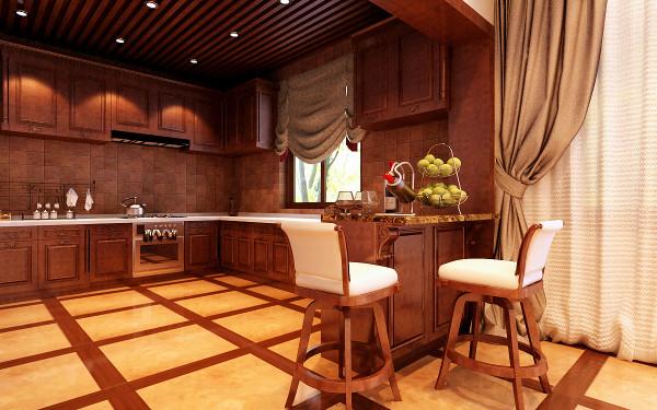 实用的厨房空间 设计理念:开放式厨房与餐厅连成一体,空间通透,色调谐和,收纳妥帖,干净利落。