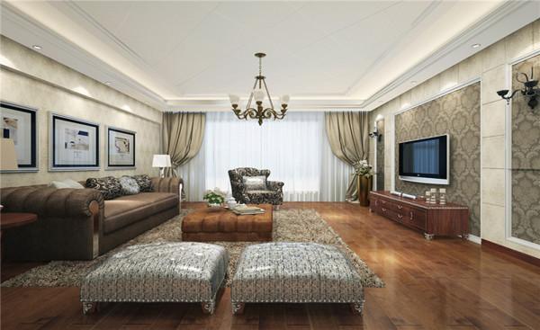 客厅采用灰色的沙发,大马士革纹样的壁纸,实木地板,石膏板,石膏线条作为整个空间的装饰,田园风格崇尚自然,美式风格更注重舒适,要求后期家具宽大舒服有质感。