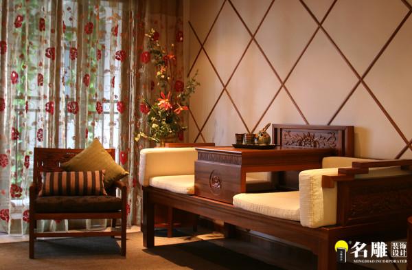 名雕装饰设计——凤凰山公园三居室——东南亚风格茶室设计: