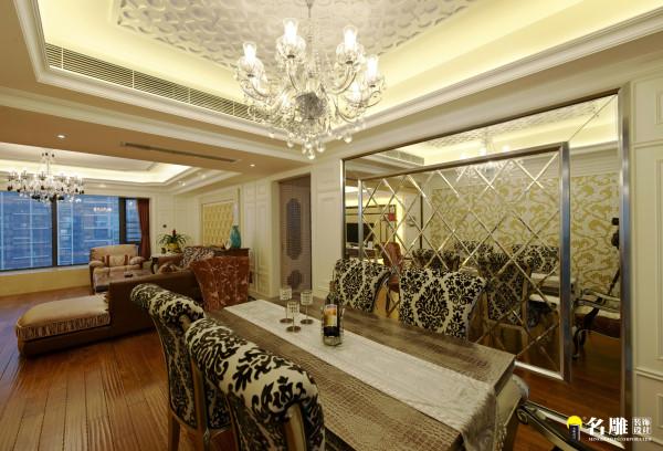 名雕装饰设计——欧式现代客厅-餐厅全景