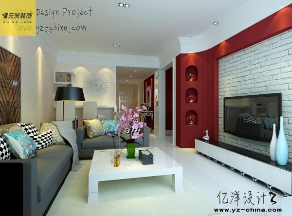 客厅:客厅建造吧台符合客户的习惯需求,简约的电视墙不失大气;