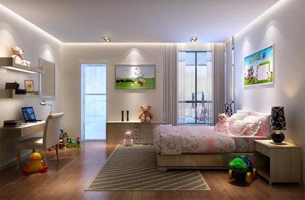 小孩房,应业主要求,装修偏向简约风格,给孩子营造简单舒适的环境。