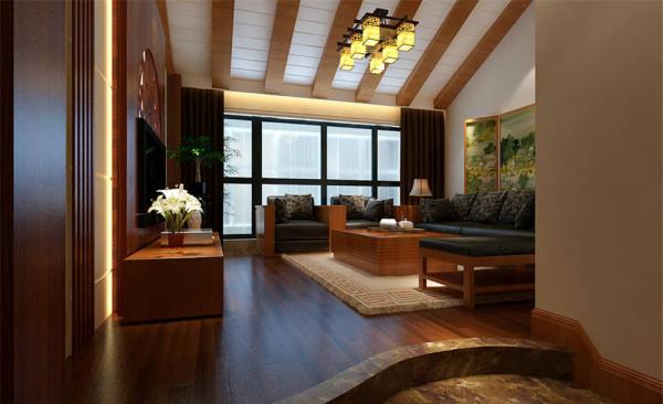 二层客厅大量使用花梨木做造型,结合古典又现代的中式家具,来呈现亦古亦今的空间氛围 ,极有分寸而又极其丰富的传达着家居主人的内心,从而提升了主人的身份与品位。