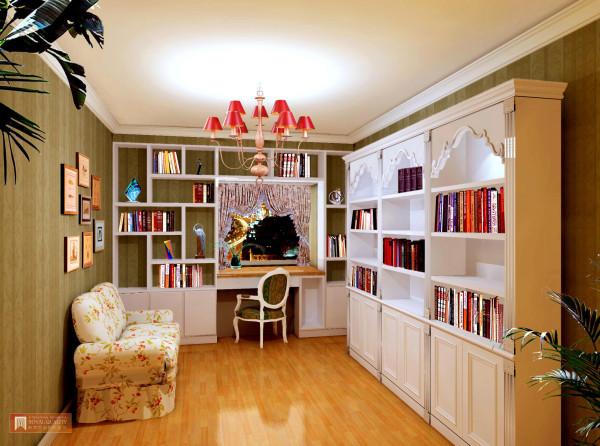 书房:用白色调简洁书柜更省空间更加明亮宽阔