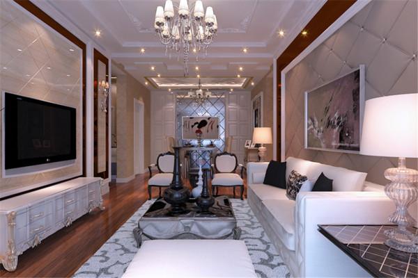 形式上以浪漫主义为基础,华丽多彩的织物、精美的地毯、多姿曲线的家具,让室内显示出豪华、富丽的特点,充满强烈的动感效果。 亮点:暖暖的灯光效果,细节的配饰打造出奢华、舒适。