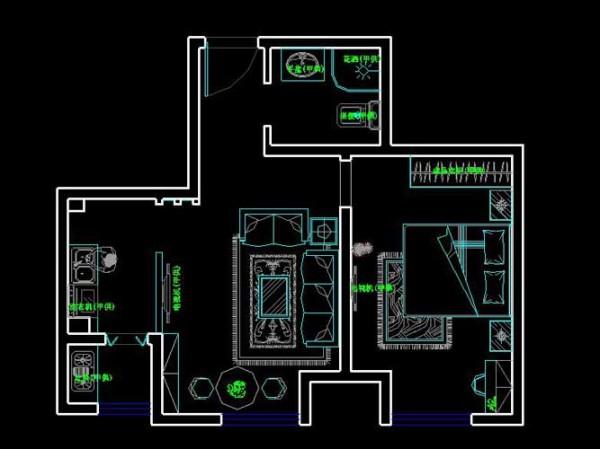 该户型为一室一厅一厨一卫  户型很小  在设计上要考虑的因素实在是很多,由于没有放电视背景墙的位置,就在房屋的中间那道墙放电视,简单的进行颜色修饰小户型整体采用暖色调 家的温馨