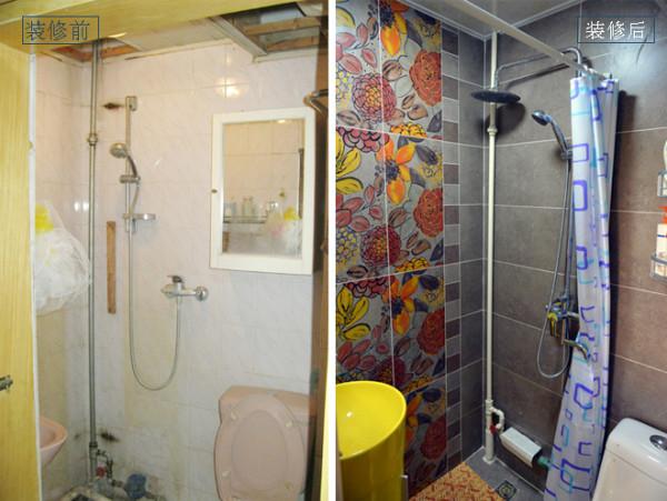 设计说明:装修前的卫生间过于狭小,有渗水的迹象,且通风也不好,还没有放洗衣机的地方。装修后,更换了墙地砖,结局用品,重新做了防水,解决了之前的问题,另外添加了一些收纳设备,增添了空间的实用性