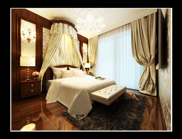 主卧室:整体以棕色为主,沉稳大方